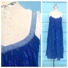 BOHO 1970's Vintage 1970s Indian Cotton Navy Blue STRIPED Gauze Dress Sundress S