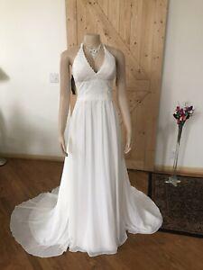 David's Bridal Ivory Wedding Dress Size 8 A-Line Halter