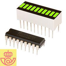 Display led 10 segmentos VERDE + driver controlador LM3914 (Arduino, prototipos)