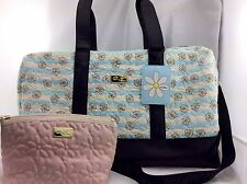 Luv Betsey Johnson TRAVEL SET: Quilted DAISY Duffle Weekender Carry On + Pouch