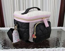 Betsey Johnson Cargo Lunch Tote Bag Insulated Quilted Crossbody Grey Black NWT