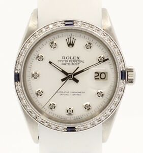 Mens Vintage ROLEX Oyster Perpetual Datejust 36mm White Dial DIAMOND Watch