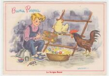 1955 YOU WANT child eggs coloured hen gallo chicken coop Easter card fg