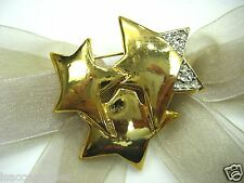 18KGP Triple Stars Swarovski Element Austrian Crystal Rhinestone Brooch Pin