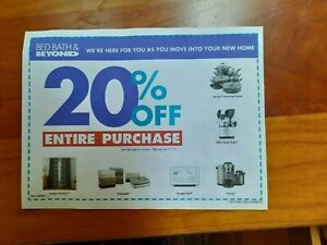 Bed Bath & Beyond  20% OFF Coupon on ENTIRE PURCHASE anywhere - exp. 7/1/2021