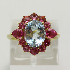 Vintage 14K Yellow Gold Natural Aquamarine & Pink Tourmaline Ring - Size 6.75