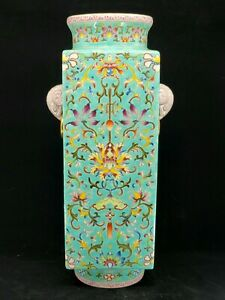 Fine Chinese Turquoise Base Famille Rose Porcelain Square Vase W/Gold Trim