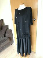 Ladies Vintage Dress Size 14 Black 80s 90s Crinkle Smart Party Evening Cruise
