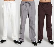 Mens Casual Cotton Tai Chi Wing Chun Pants Loose Martial Arts Kung Fu Trousers