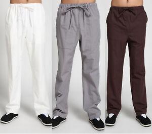 Casual Mens Cotton Tai Chi Wing Chun Pants Loose Martial Arts Kung Fu Trousers