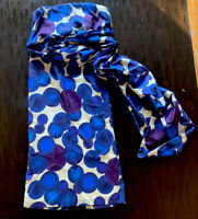 Dries Van Noten Womans Strapless Dress Blue And Purple Silk Dots Size 40-US 8