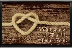 Fußmatte mit Namen Holz Seil Herz