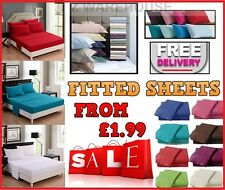 FITTED SHEET PERCALE SINGLE 4FT SMALL DOUBLE KING SUPER KING SIZE OR PILLOWCASE