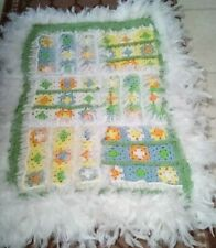 """Crochet Pillow Sham, 34"""" Inches By 21"""", Yellow/Blue/Green,Orange, White Feathers"""