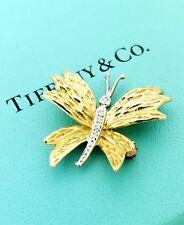 Vintage Tiffany & Co. 18k Two-tone Gold Diamond Butterfly Brooch Pin