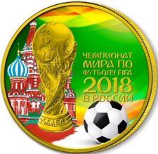 2018 1 Oz Silver Russia WORLD CUP KREMLIN Coin,24Kt Gold.