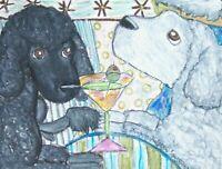 PORTUGUESE WATER DOG Drinking a Martini PWD Collectible Dog Art Print 8x10 KSAMS