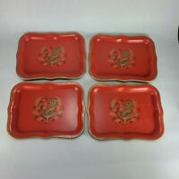 Red Maxey Tin Tray Set Peacock Snack Tip Tray Set of 4