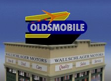 OLDSMOBILE ROCKET ANIMATED LITED NEON BILLBOARD SIGN -O-SCALE OR LARGE HO-SCALE!