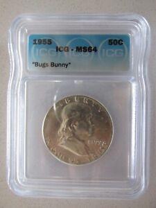 "1955 Franklin Silver Half Dollar MS64 ""Bugs Bunny"" #2"