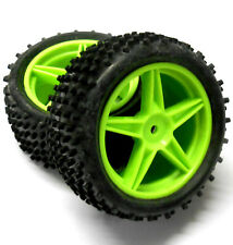 06026 1/10 RC Buggy Rear Wheels and Tyres x2 Green 5 Spoke Plastic