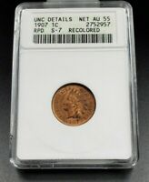 1907 P Indian Cent Penny Coin ANACS UNC DETAILS S-7 Repunched Date