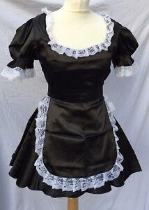 Sexy Satin Maids Dress TV Sissy Cosplay Size Uk14