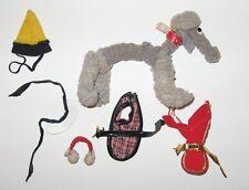 Vintage Barbie # 1613 Dog N Duds Dog White Collar Red Coat Plaid Coat Hat EXC