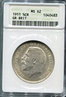 GREAT BRITAIN-SPECTACULAR GEORGE V SILVER 1/2 CROWN, 1911,KM# 818.1, ANACS MS 62