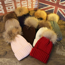 Winter Girls Boys Fur PomPom Beanies Hats Knitted Wool Cap For Baby Adult Family
