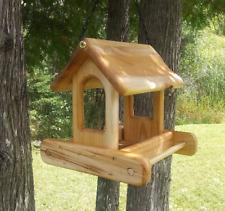 Small Hanging Fly Through Platform Bird or Squirrel Feeder Cedar Wood Tbnup #1