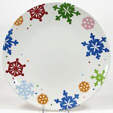 "Target Home SLEDDIN HILL SNOWFLAKES 11.25"" Dinner Plate Embossed Dots Christmas"