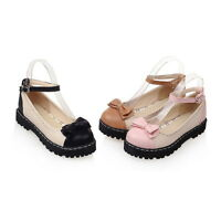 Womens Girls Cute Ankle Strap Folral Hollow Out Bowknot Lolita Shoes Flats 2-10