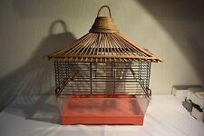 C57 Ancienne cage a oiseau avec dessus rotin ou osier 60' vintage
