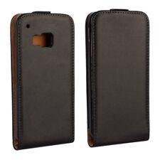 Flip Case Echt Leder Genuine Vertikal Magnet Etui Cover Schwarz für HTC One M9