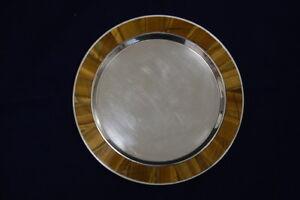Italy Superb With Tigerauge-Einlegearbeit, Silver 800, 19cm Diameter
