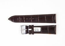 FLUCO Genuine Calf Leather Alligator Grain Glossy 22 mm D'BROWN Watch Band LUXOR