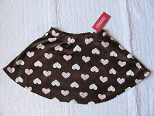 New with tags Gymboree Girls velvet skort chocolate with heart print size 6