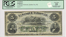 1883 La Banque Nationale, Quebec City $5; VF 25