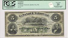 1883 La Banque Nationale, Quebec City $5; VF 25
