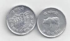 2 DIFFERENT 5 PAISA COINS from NEPAL - F.A.O. 1974 & 1975 with COW (2 TYPES)