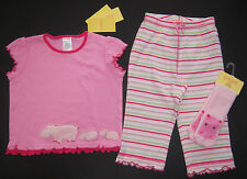 NWT Gymboree Jungle Gym 12-18 Months Pink Hippo Ruffle Tee Stripe Pants & Socks