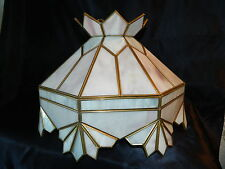 Vintage Stained Glass Swag Lamp Retro Lavender Pink White Golden Trim Excel Cond