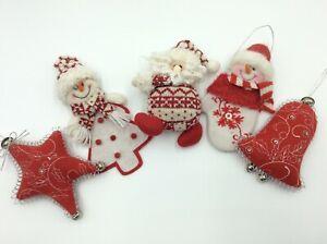 5 Charming Christmas Tree Decorations Santa Snowman Bell Star Set 52