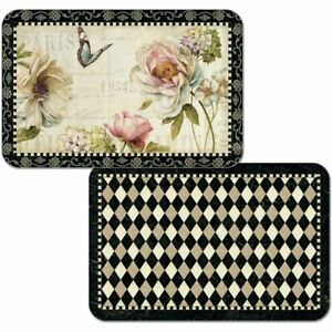 4 Reversible Washable Plastic Placemats, French Bouquet