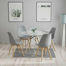 90cm Round Dining Table and 4 Tulip Chairs Set Padded Grey Kitchen Cafe UK White