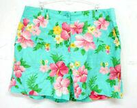 Jones New York Linen Summer Shorts Hawaiian Print Size Petite 12