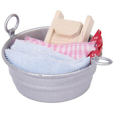 Miniature Laundry Tub Wooden Washboard Towel Set for 1:12 Dollhouse New Decor