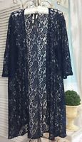NEW ~ Plus Size 2X Navy Blue Floral Lace Boho Swing Open Duster Kimono Topper