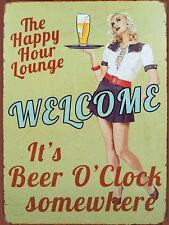 It's Beer O Clock, Retro Vintage Metal Sign, Pub, Bar, Man Cave
